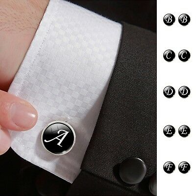Fashion Jewelry Men Cufflinks Alphabet Single Letter Black Bottom Silver Plated