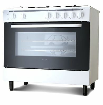 Servis SG900W 90cm Gas Range Cooker in White | Large Single Gas Oven & Grill