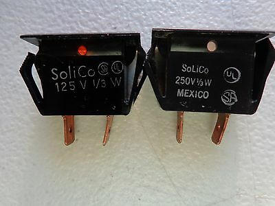 Solico 250V 1/3W Rectangular Panel Mount Indicator Light (2pcs)