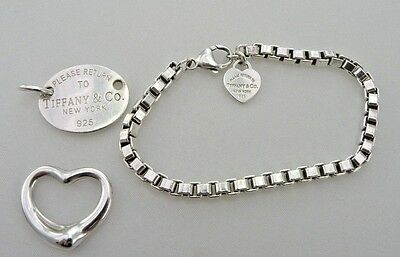 Tiffany & Co. Lot of Sterling Silver Jewelry Preowned 3 pieces Heart Bracelet