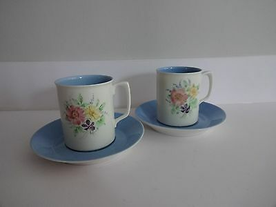 Branksome China Blue Miriam-Hand painted-Cup & Saucer x 2