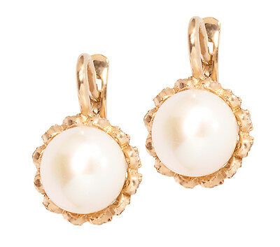 Earring With Pearl 14K Solid 5.71g Rose Gold 585 NEW #29200