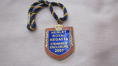 HENLEY ROYAL REGATTA STEWARDS' ENCLOSURE ENAMEL BADGE 2007 No. 8030