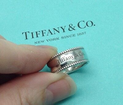 Tiffany & Co. Sterling Silver Beaded Edge Notes Ring UK L 1/2, US 6