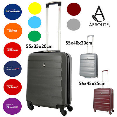 Aerolite 55x35rx20 IATA ABS Hard Shell Hand Cabin Luggage Suitcase 4W Spinner