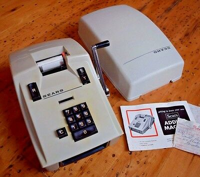 Vintage 1960s Sears Manual Adding Machine 158.58000 Simpsons Roebuck Works RARE