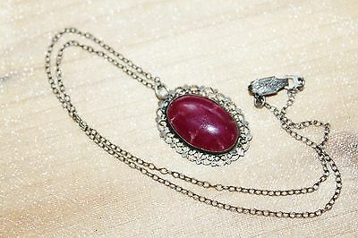 ART DECO Vintage STERLING Silver Ruby Red TOURMALINE Filigree pendant necklace
