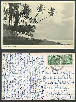 Singapore Sunset Malaya 2cx2 Klang 1938 Old Postcard Beach Coast Palm Trees Pier