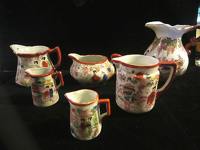 Lot Of 6 Vintage Japanese Hand Painted Creamers Pitchers Geisha Girls On All