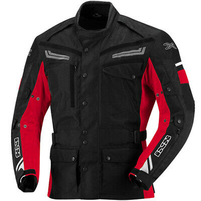 iXS Motorcycle Waterproof Sports Touring Evans Textile Jacket - Black / Red