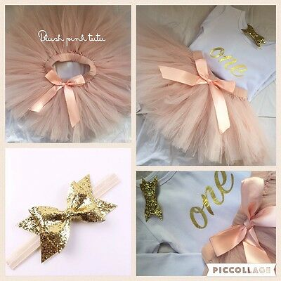 Boutique Girls First 1st Birthday Tutu Skirt Outfit Set Blush Pink & Gold Bow