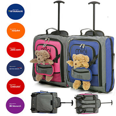 Childrens/Kids Small Child Pink/Blue Cabin Hand Luggage Trolley Backpack Bags