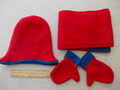 Fleece baby/ toddler hat, mittens and scarf set - red with blue trim (#1231)