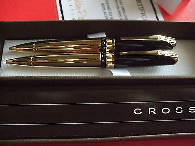 24Ct Gold Plated Black Cross Ballpoint Writing Pen And Pencil Set Ink Gift Boxed