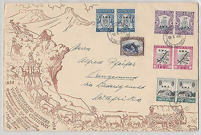 SWA 1935 Memorial Fund set 1938 Voortrekker Centenary illustrated cover sg50-53
