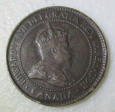1907-H Key Date Canada Large 1C One Cent Penny Coin