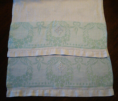 "2 Lovely Antique Woven LINEN DAMASK Bath TOWELS Lt Green & White ""P"" Monogram"