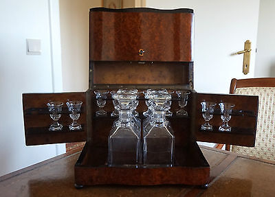 French Antique Liquor Box - Tabletop Liquor Cabinet in Walnut Burl Wood