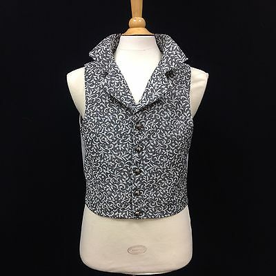 Regency Style Black And Silver Brocade Waistcoat
