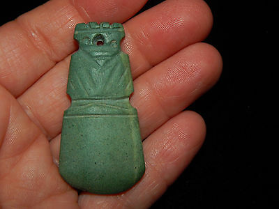 Pre-Columbian Carved Green Stone Avian Pendant