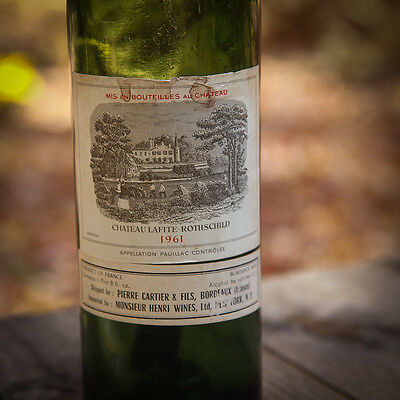 Vtg Old Empty 1961 Chateau Lafite Rothschild wine bottle only & label as Petrus
