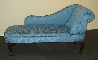 Chaise Longue in Blue Leaf Damask Fabric NEW