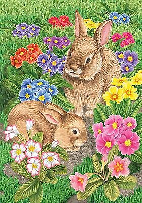 "Bunny Friends Easter Garden Flag Spring Floral Bunnies Briarwood Lane 12.5""x18"""