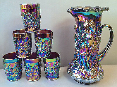 Rare ELECTRIC Carnival Glass Heavy Iris Water Set Purple L. G. Wright Dugan Mold