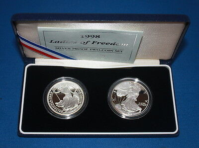 Ladies Of Freedom Silver Proof Two Coin Set 1998 Britannia + Usa Silver Eagle