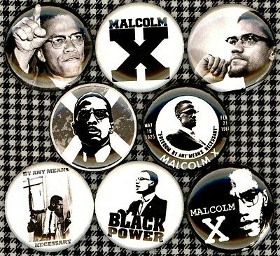 Malcolm X 8 NEW 1 inch pins button badge panthers Black History Month power
