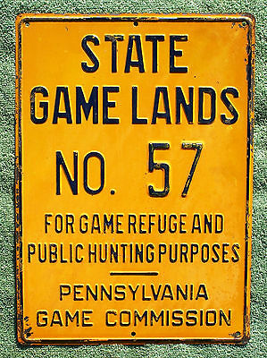 Pa Pennsylvania Game Commission NEW State Game Lands No 57 EMBOSSED Metal Sign
