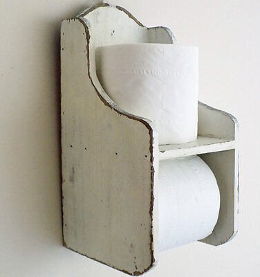 Cream wooden wall mounted toilet roll holder