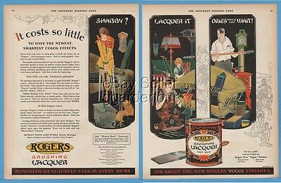 1928 Rogers Lacquer Shabby? AWESOME Art Deco Detroit White Lead Works paint ad