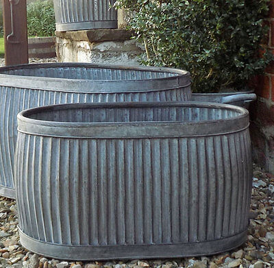 Vintage style galvanised oval dolly planter trough tub