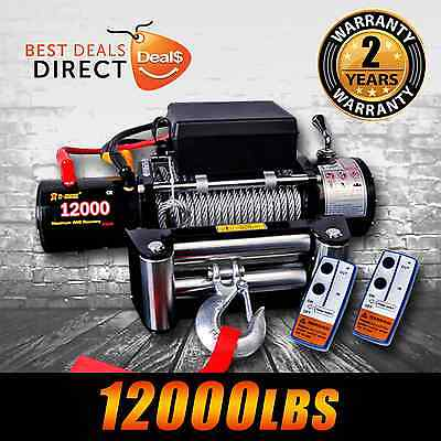 NEW 12V 12000LBS/5454KGS Wireless Steel Wire Cable Electric Winch 4WD BOAT TRUCK