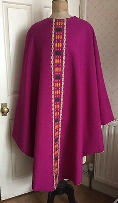 Vintage French 1950's 1960's Purple Religious Vestment with Embroidery
