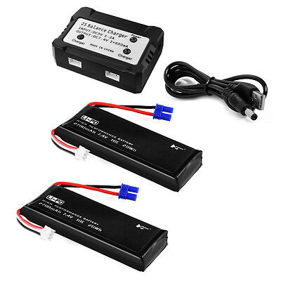 2pcs 7.4V 2700mAh Round Plug Battery with Charger for Hubsan H501S RC Quad BC658