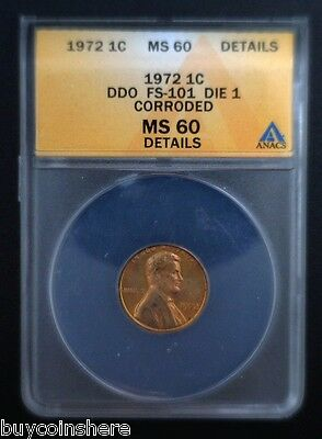 1972 Lincoln Cent Double Die Obverse Die 1 PCGS MS 60 Details Corroded