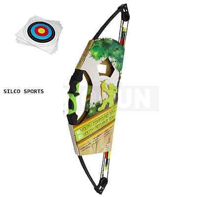 Kids Black & Green Compound Archery Bow 12Lbs Kit 3X Arrows, 5 Targets & More...