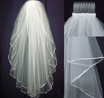 Brand New White Or Ivory 2 layers Wedding Bridal Veil  with Comb