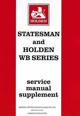 Holden Statesman WB & Commercial 1980-85 Factory Service Repair Workshop Manual