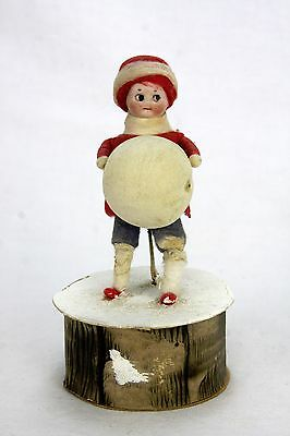 Antique German Heubach Bisque Head Cotton Batting Christmas Candy Container