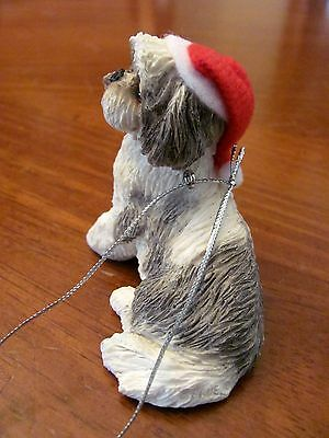 Sandicast Sandra Brue 'shih Tzu' Silver & White Adorable Christmas Ornament Nib