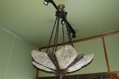 Fine French Art Deco Iron & Moulded Glass  Chandelier, Circa 1920