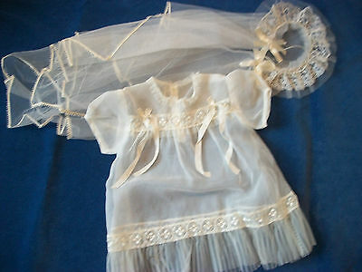 Vintage 1950's Baby Christening Baptism Veil and Dress Gown