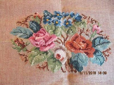 Paragon Needlepoint Crewel Pre-worked Floral Pillow bench 23X16 handwork