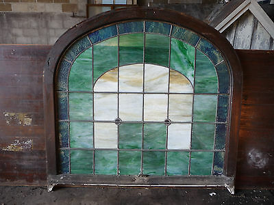 Antique Arch Top Church Stained Glass Window -C. 1915 Architectural Salvage