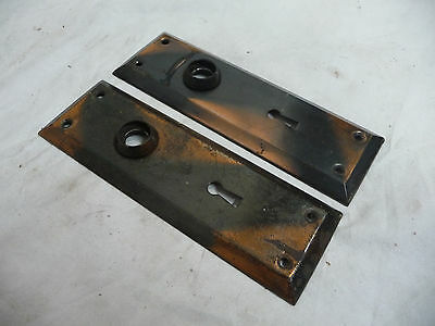 Two Antique Craftsman Style Door Plates - C. 1910 Architectural Salvage