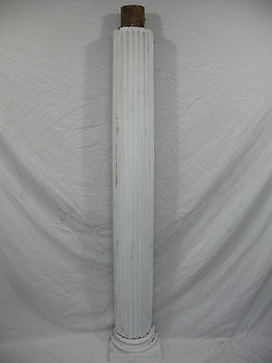 Antique 1/2 Column Fluted - Victorian Fir Pine Wood White Architectural Salvage