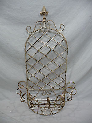 Antique Metal Hanging Plant Stand - Original Rusty White Paint with Fluer De Lis